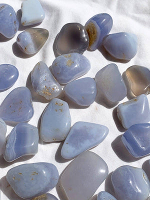Blue Chalcedony Tumbles | Small - Unearthed Crystals