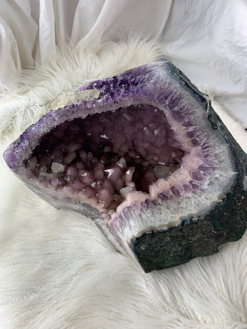Unique Gargantuan Amethyst Geode Cave with Pink Amethyst + Calcite Inclusions - Unearthed Crystals