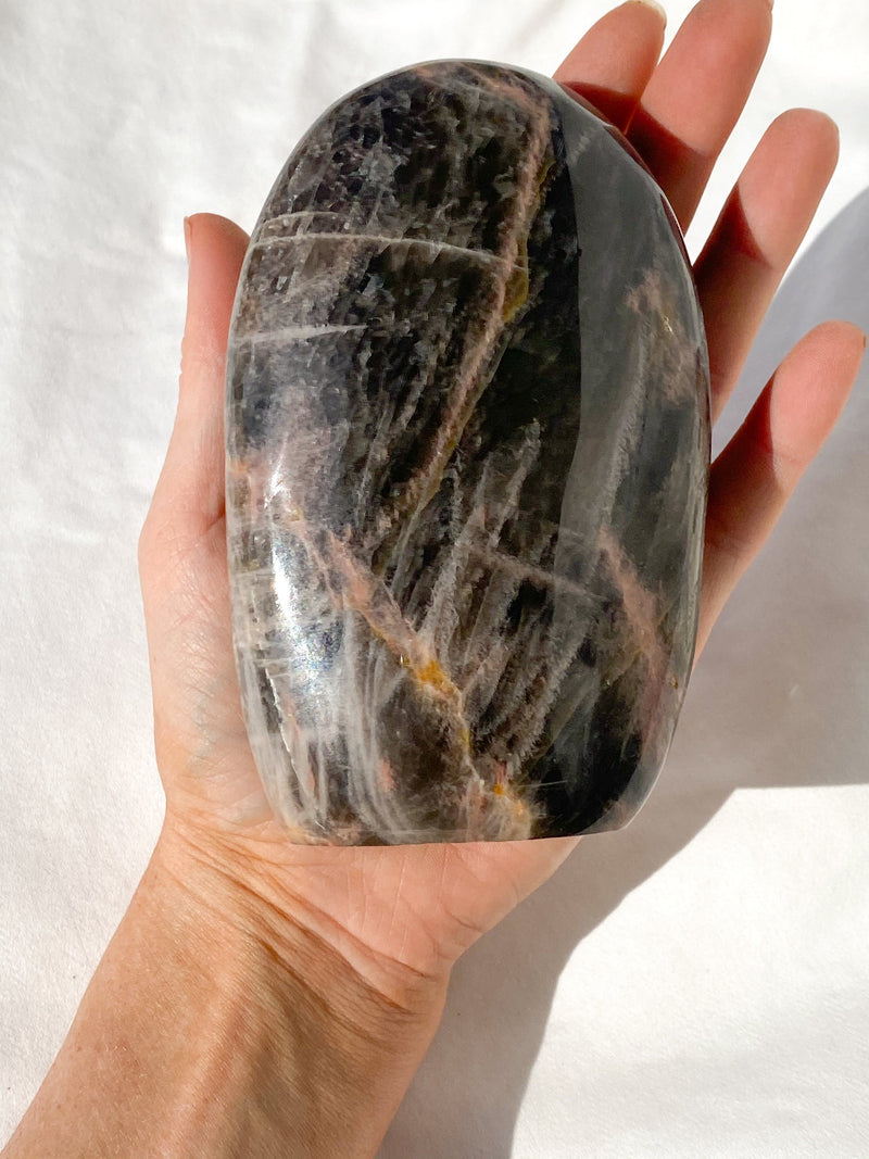 Black Moonstone Standing Freeform - Unearthed Crystals