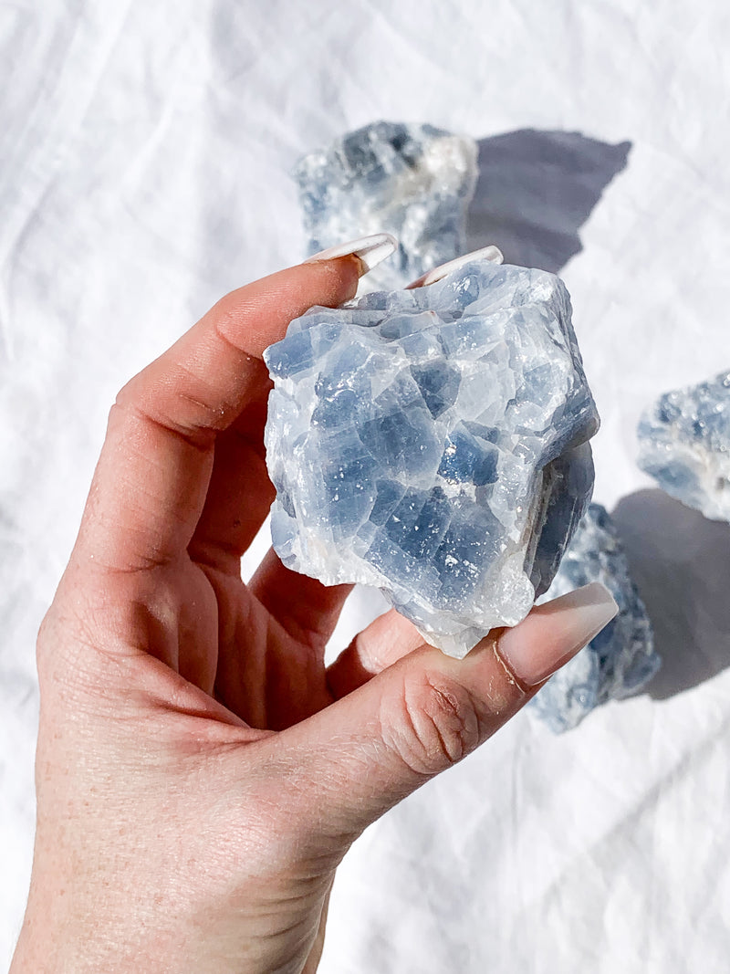 Blue Calcite Rough | Extra Large - Unearthed Crystals