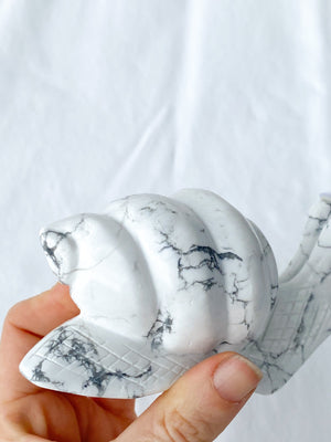 Howlite Snail Carving - Unearthed Crystals