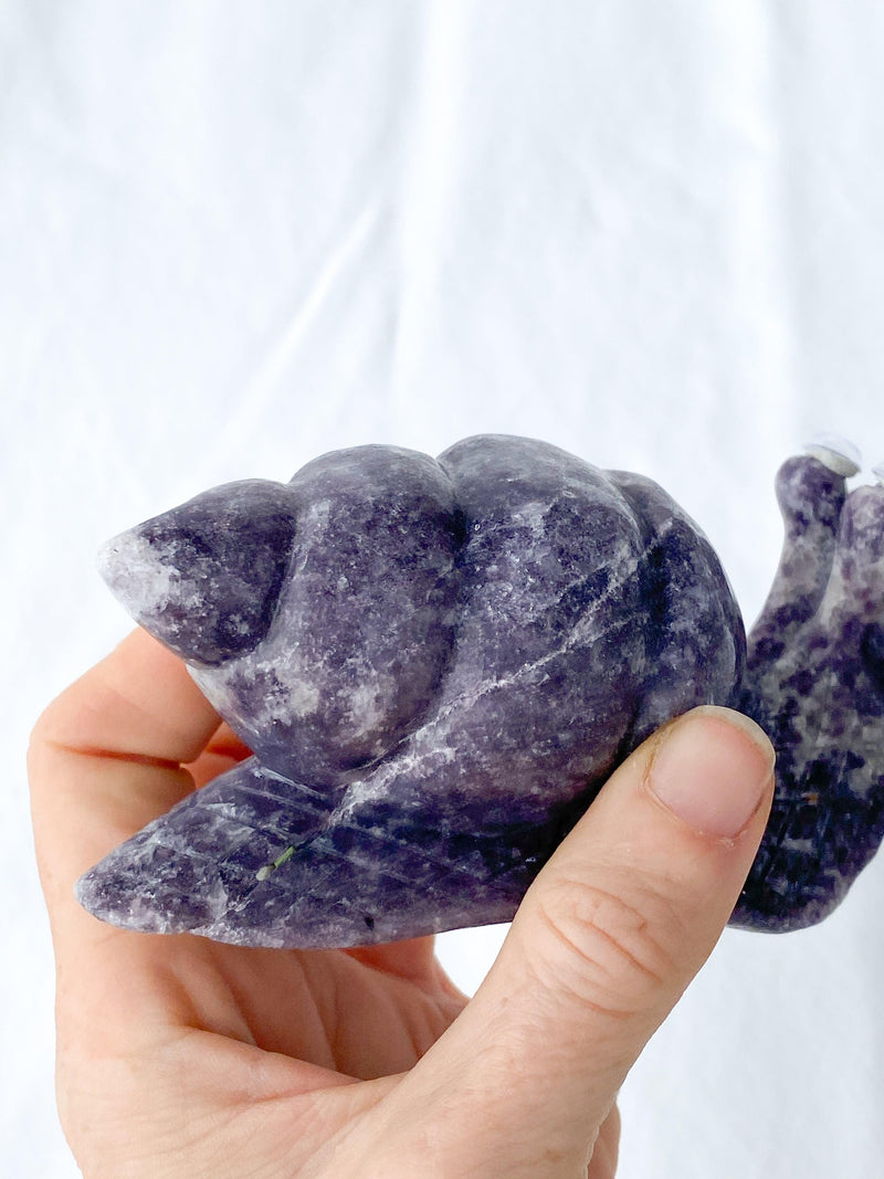 Lepidolite Snail Carving - Unearthed Crystals