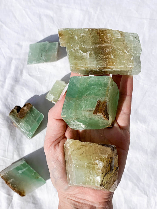 Green Calcite Rough | Large - Unearthed Crystals