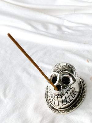 Silver Skull Incense Holder - Unearthed Crystals