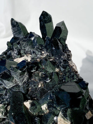 Morion Smokey Quartz Cluster with Orthoclase and Epidote Inclusions - Unearthed Crystals