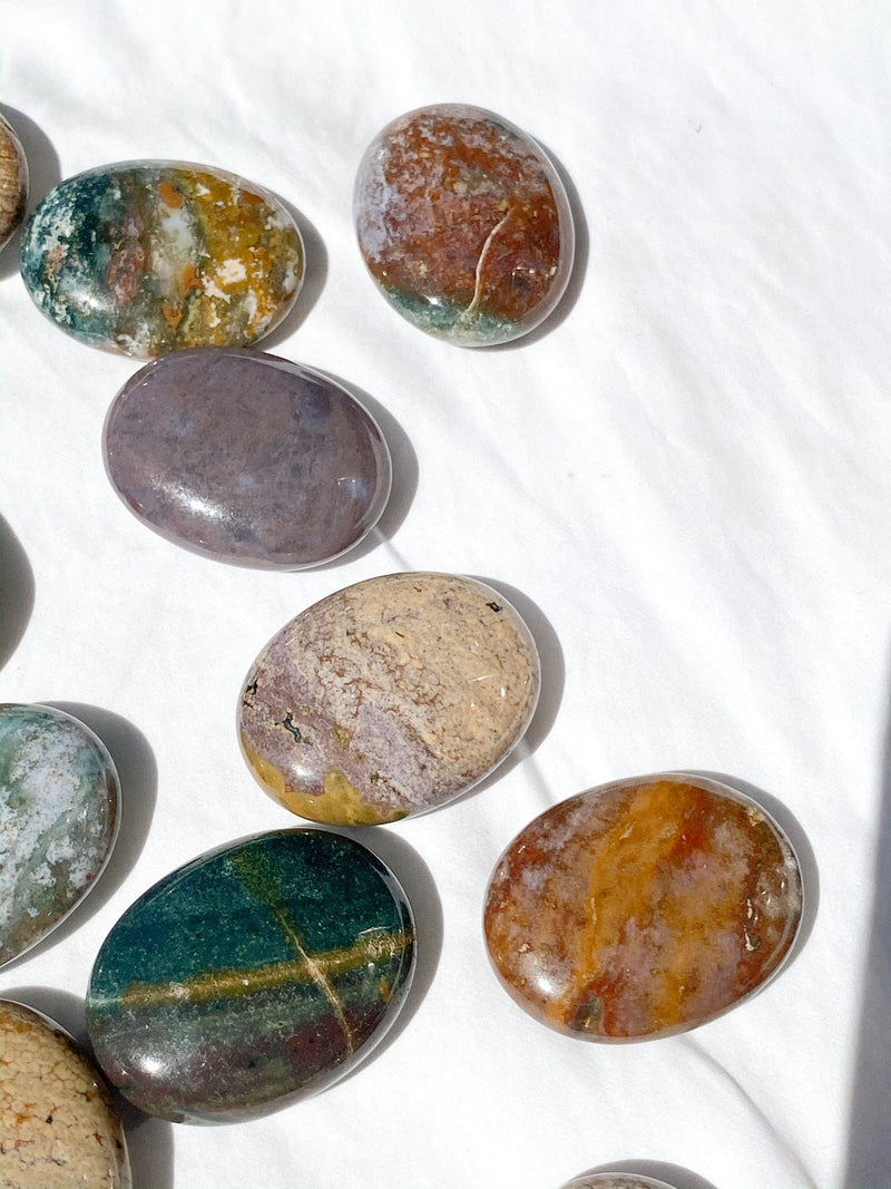 Ocean Jasper Pillow Palm Stone - Unearthed Crystals