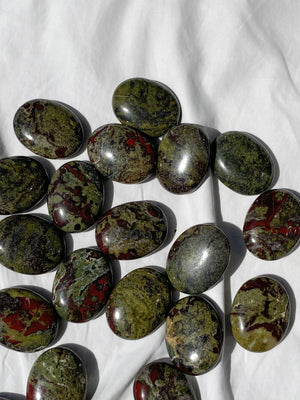 Dragons Blood Jasper Pillow Palm Stone - Unearthed Crystals