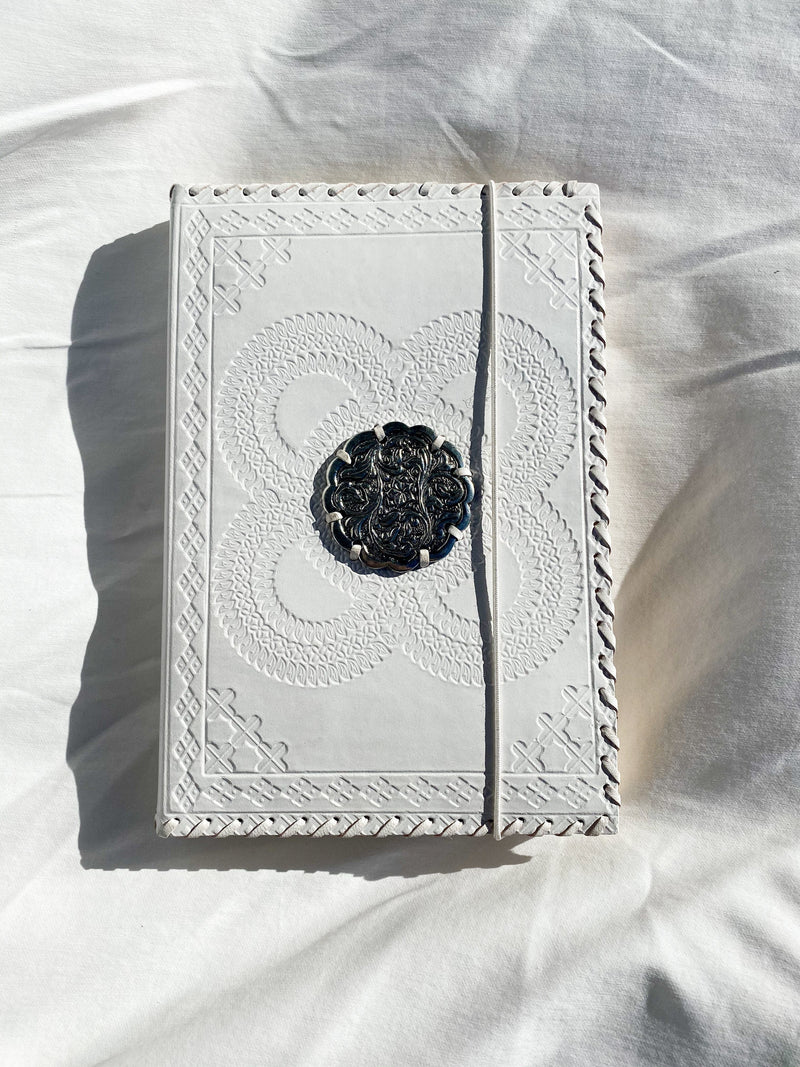White Leather Lined Journal - Unearthed Crystals