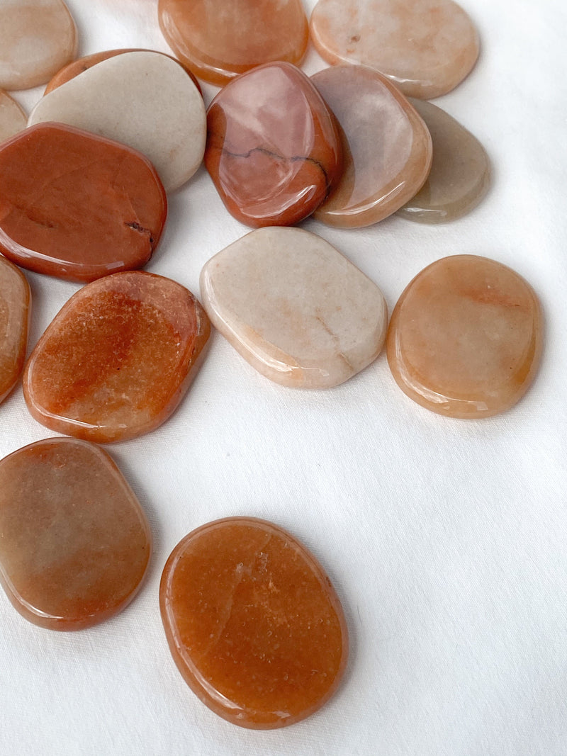 Red Aventurine Flat Palm Stone - Unearthed Crystals