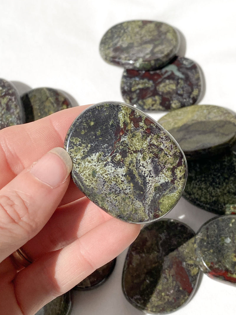 Dragons Blood Jasper Flat Palm Stone - Unearthed Crystals