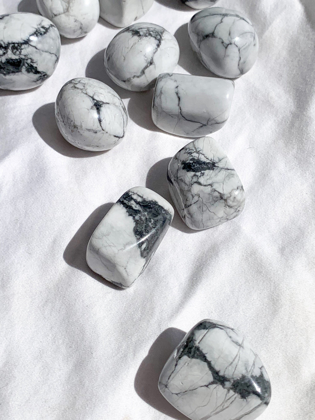 White Howlite Tumbles | Large - Unearthed Crystals