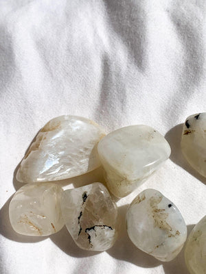 White Moonstone Tumbles | Small - Unearthed Crystals