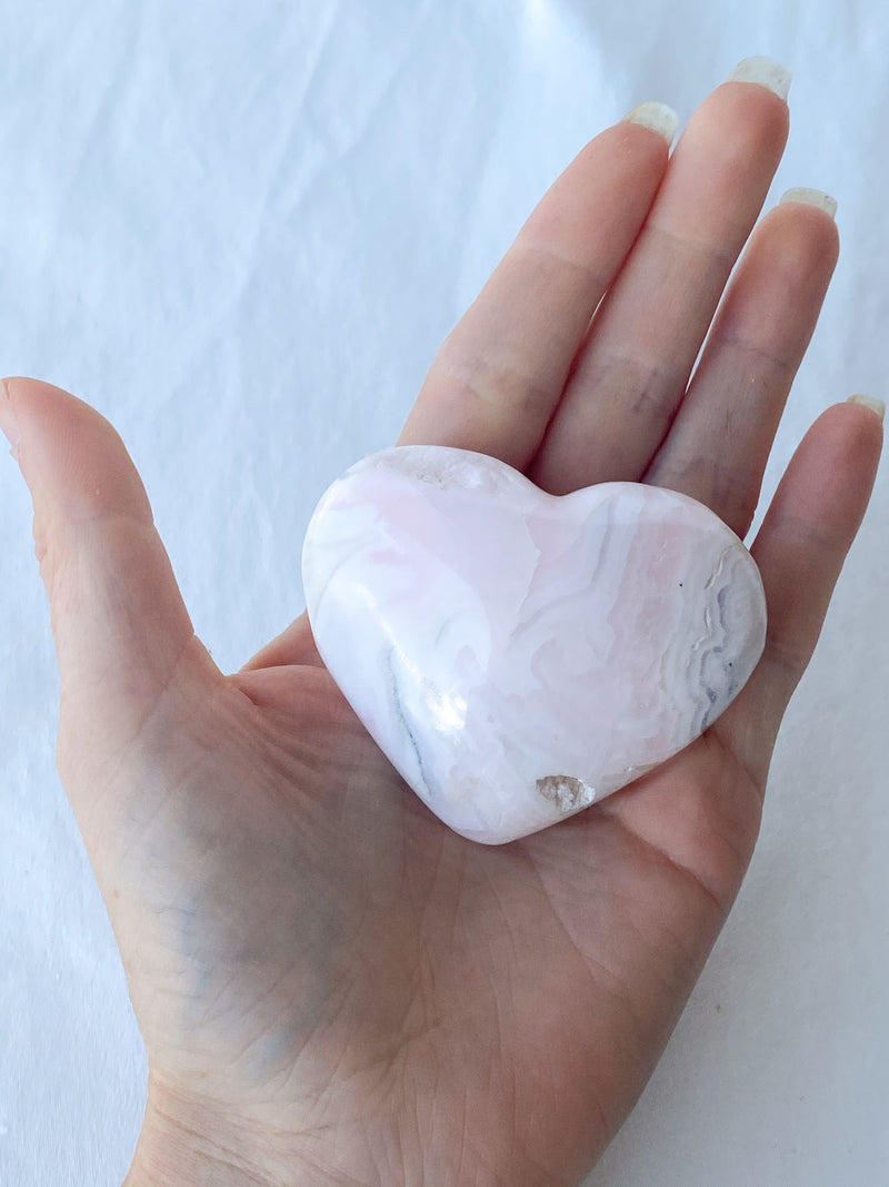 Pink Mangano Calcite Hand Carved Heart - Unearthed Crystals