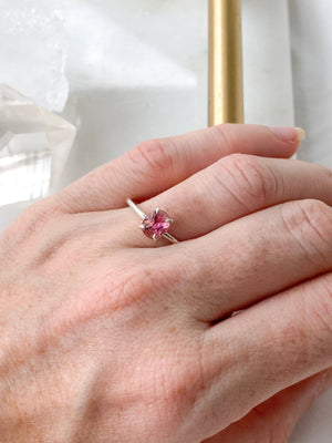 Pink Rose Cut Tourmaline Ring | Sterling Silver | Size 7 - Unearthed Crystals