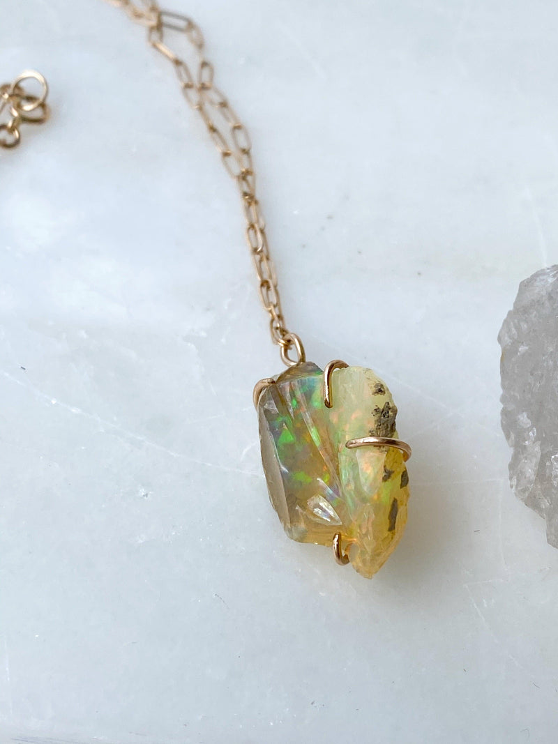 Rough Welo Opal Necklace | Rose Gold - Unearthed Crystals