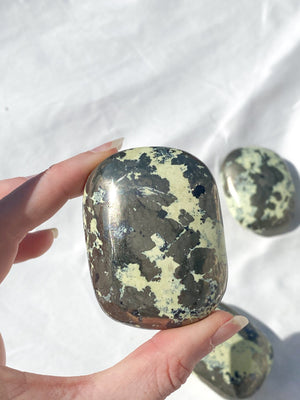 Serpentine + Pyrite Palm Stone | Extra Large - Unearthed Crystals
