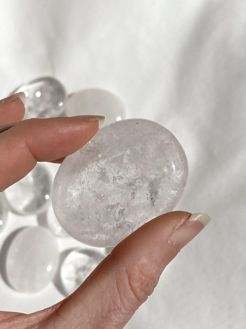 Clear Quartz Pillow Palm Stone - Unearthed Crystals