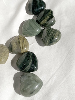 Green Hair Jasper Heart | Medium - Unearthed Crystals