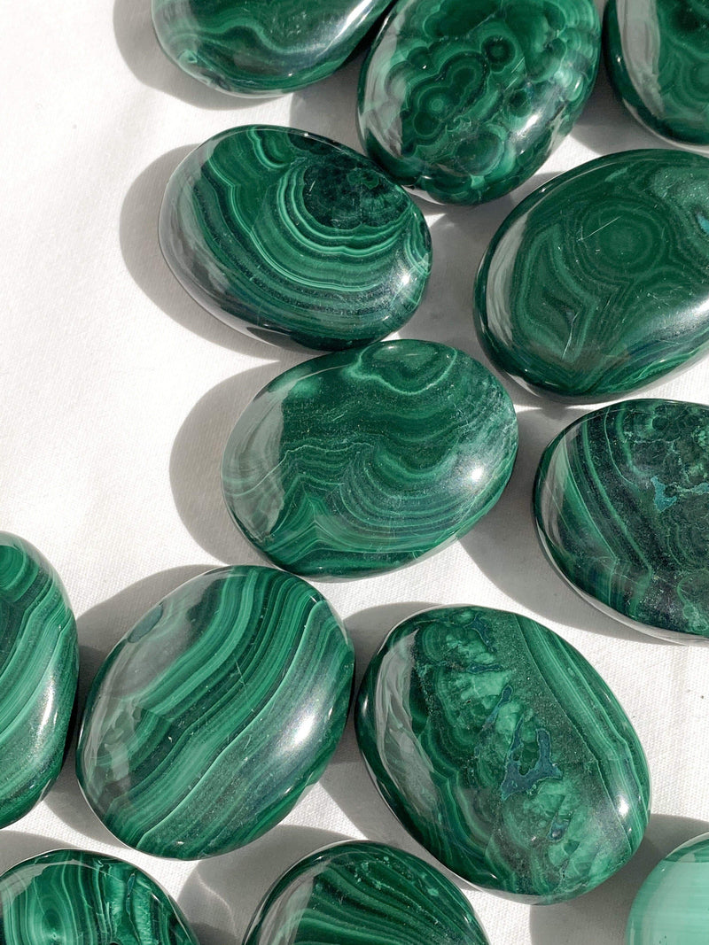 Malachite Pillow Palm Stone - Unearthed Crystals