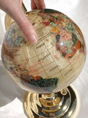 Gemstone World Globe | Pearlescent and Gold | Small - Unearthed Crystals