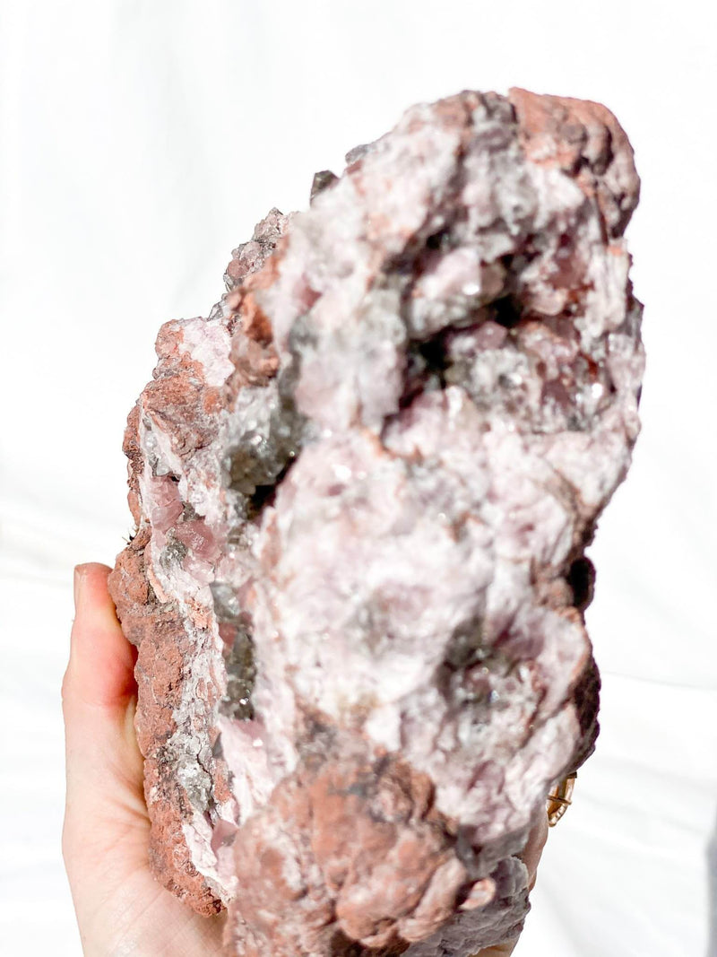 Silver Calcite Geode with Pink Amethyst - Unearthed Crystals