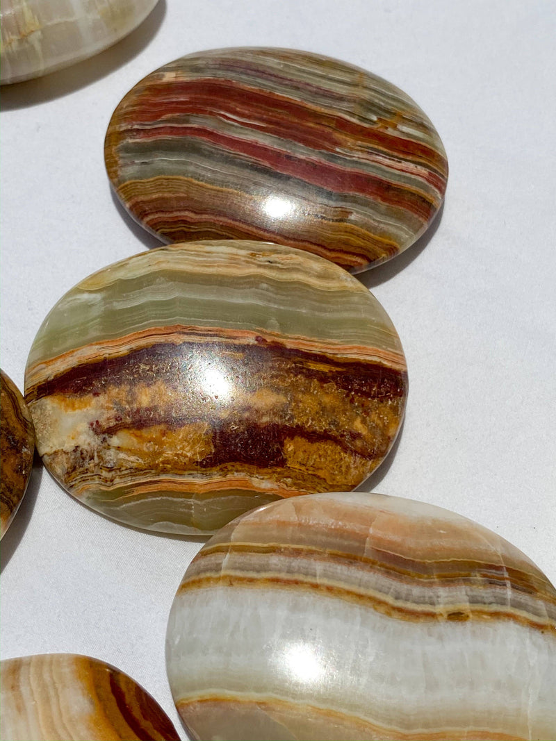 Banded Calcite Palm Stone | Medium - Unearthed Crystals