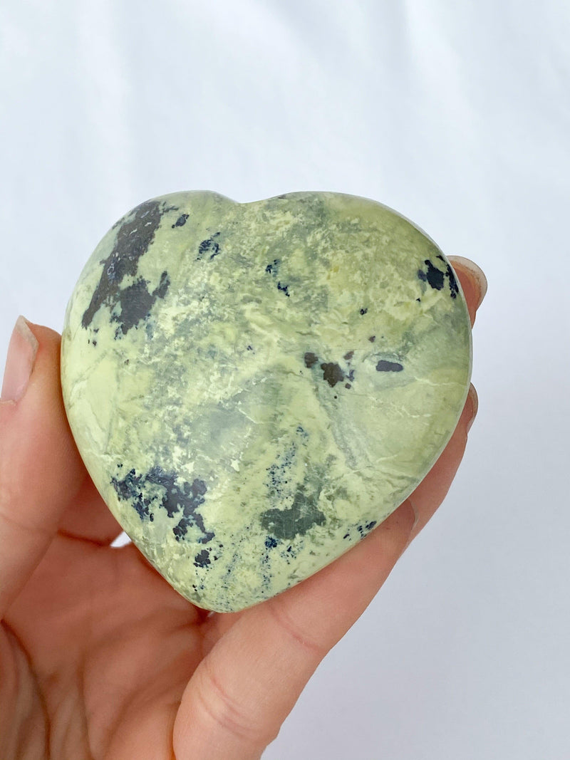 Serpentine + Pyrite Heart - Unearthed Crystals