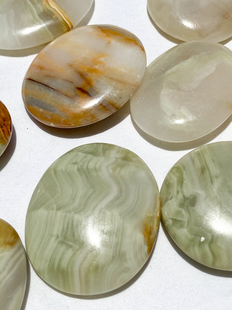 Green Calcite Palm Stone | Small - Unearthed Crystals