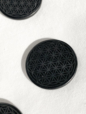 Shungite Engraved Mobile Phone Tile | Flower of Life - Unearthed Crystals