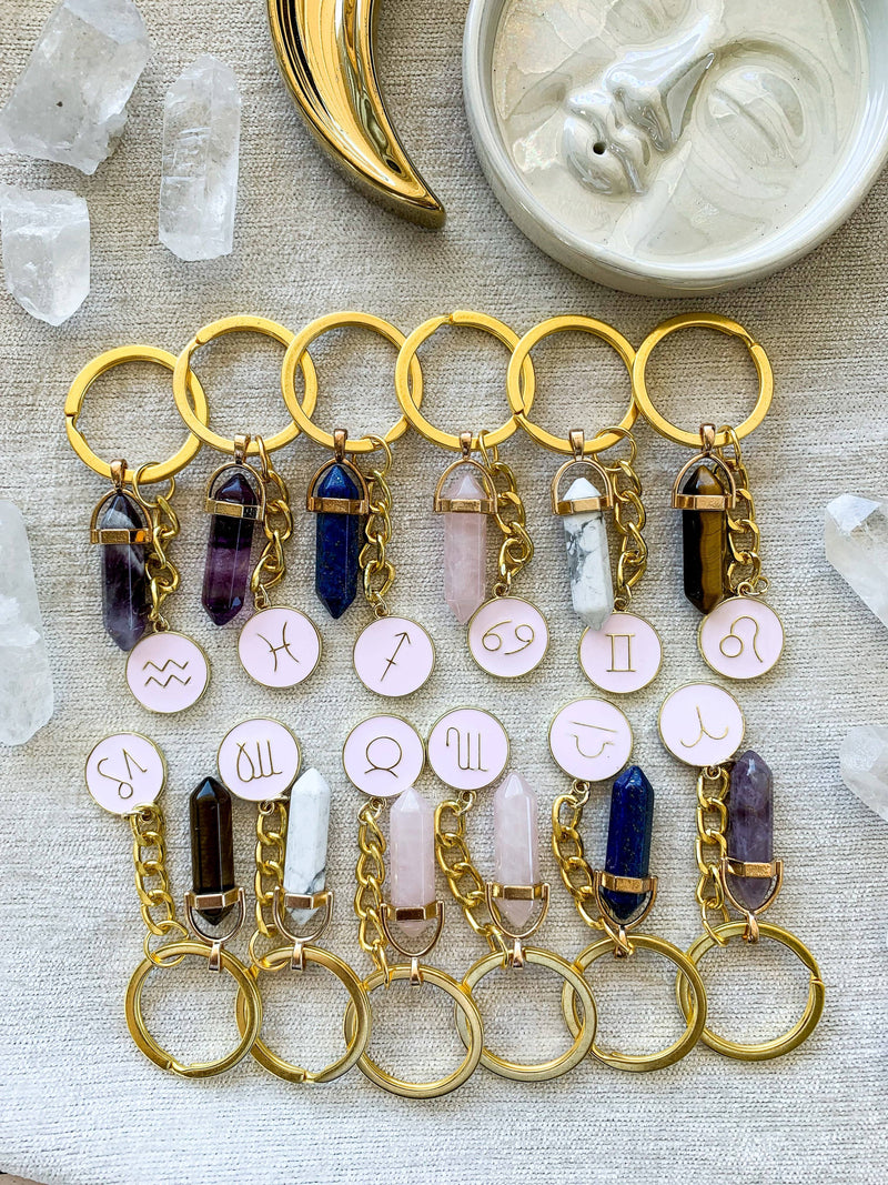 Zodiac + Stone Keyring - Unearthed Crystals