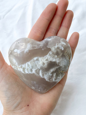 Flower Agate Heart | Hand Carved - Unearthed Crystals
