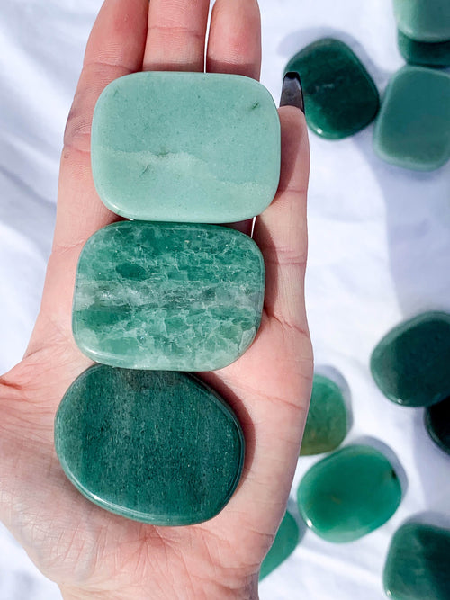 Green Aventurine Flat Palm Stone - Unearthed Crystals