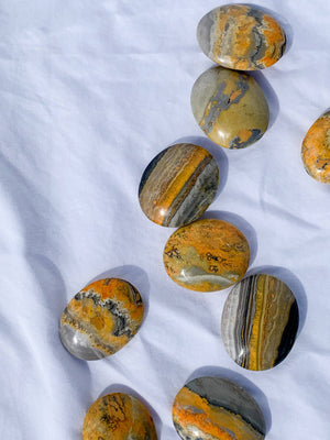 Bumble Bee Jasper Pillow Palm Stone - Unearthed Crystals