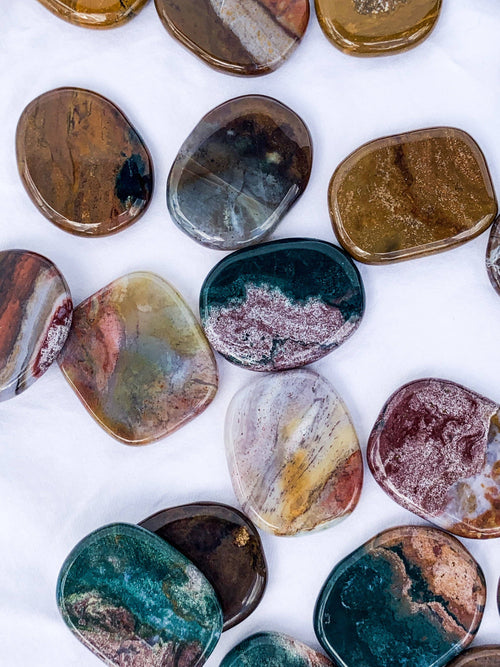 Ocean Jasper Flat Palm Stone - Unearthed Crystals