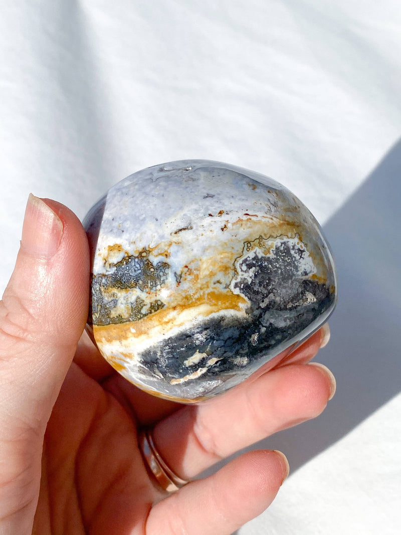 Ocean Jasper Palm Stone - Unearthed Crystals