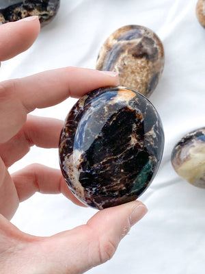 Black Opal Palm Stone | Medium - Unearthed Crystals