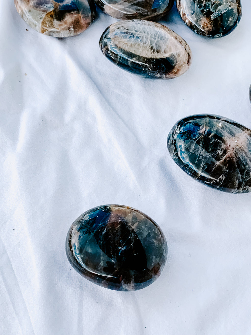 Black Moonstone Palm Stone | Small - Unearthed Crystals