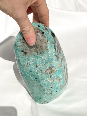 Amazonite + Smokey Quartz Standing Freeform - Unearthed Crystals