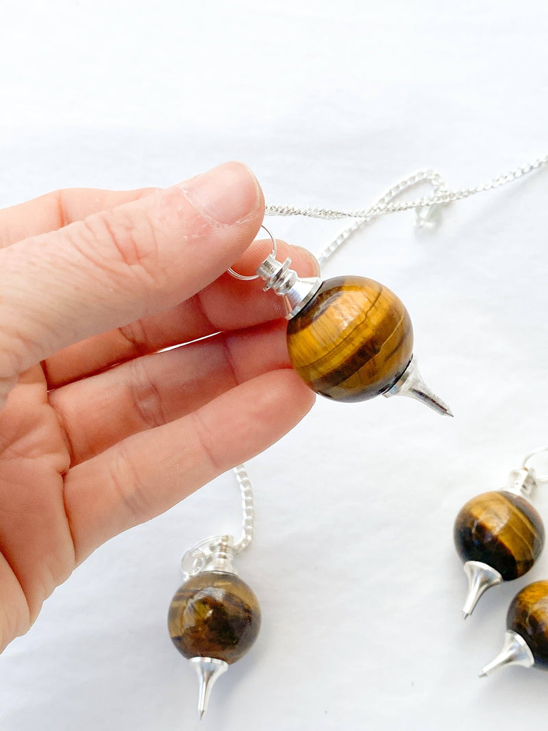 Tiger Eye Ball Pendulum - Unearthed Crystals