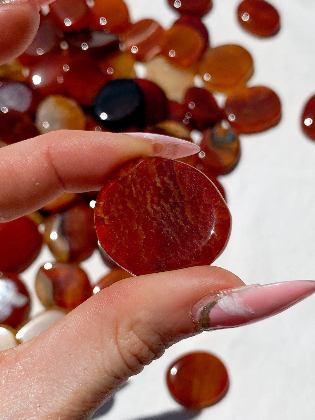Snakeskin Carnelian Coin | Large - Unearthed Crystals