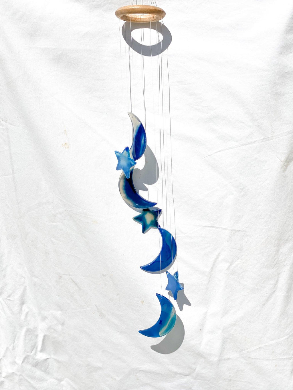 Agate Moon Wind Chimes | Blue - Unearthed Crystals
