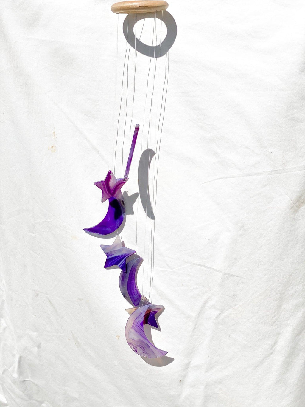 Agate Moon Wind Chimes | Purple - Unearthed Crystals