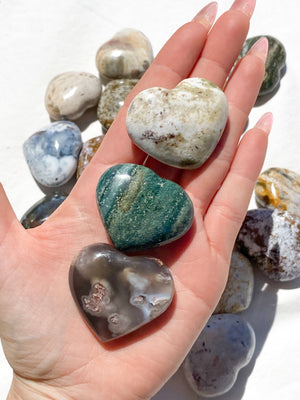 Ocean Jasper Heart (Hand Carved) | Large - Unearthed Crystals