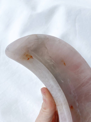 Rose Quartz Crescent Moon Bowl - Unearthed Crystals