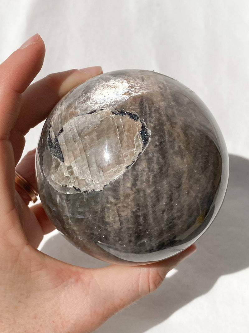 Black Moonstone Sphere - Unearthed Crystals