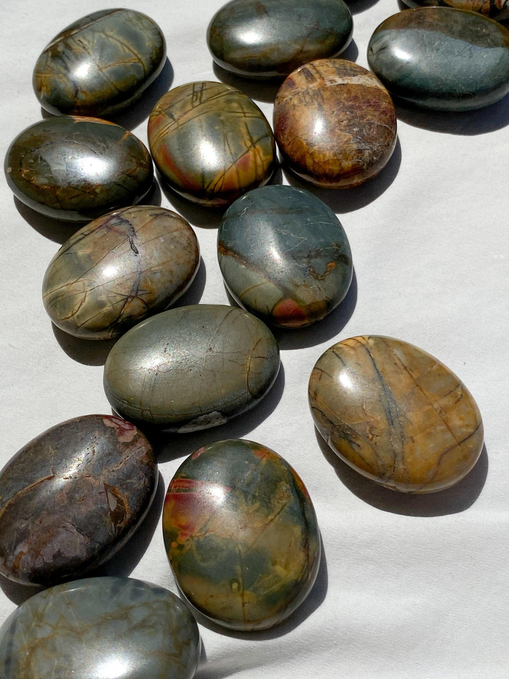 Cherry Creek Jasper Pillow Palm Stone - Unearthed Crystals