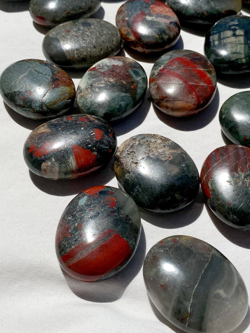 Bloodstone Pillow Palm Stone - Unearthed Crystals