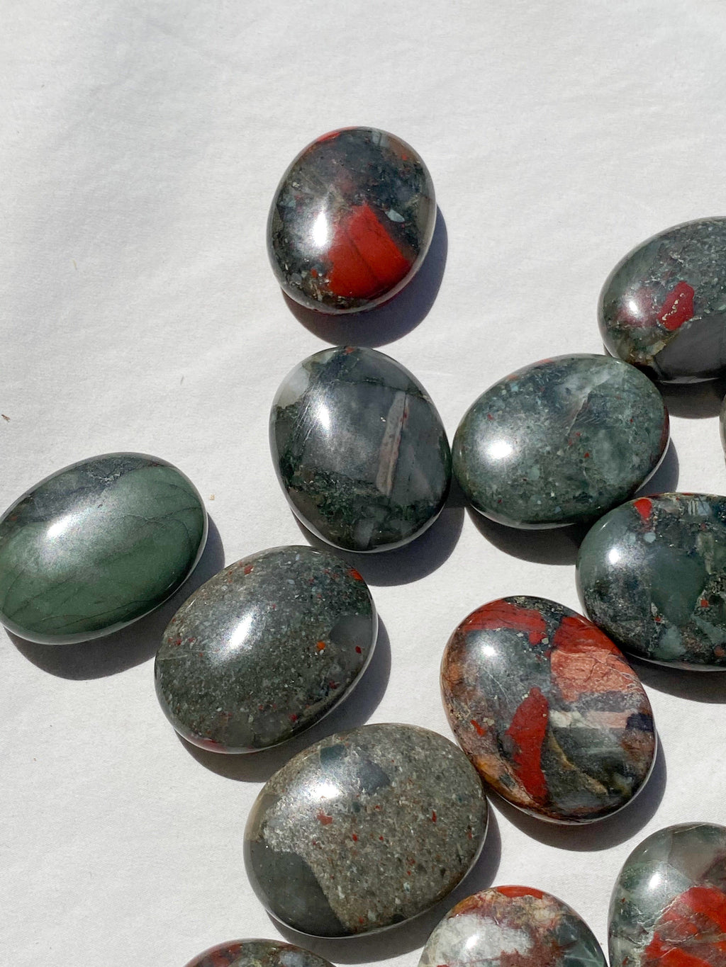 Bloodstone Jasper Pillow Palm Stone - Unearthed Crystals