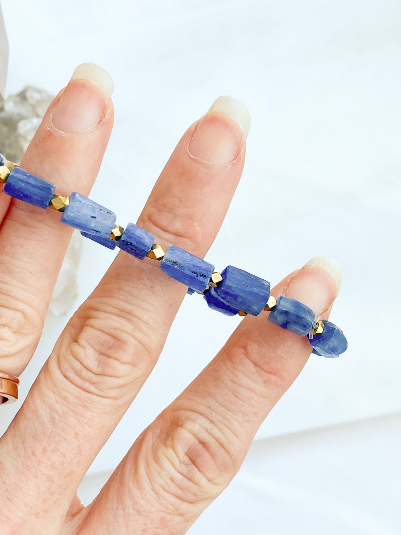 Raw Kyanite Stretch Bracelet - Unearthed Crystals