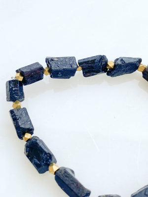 Raw Black Tourmaline Stretch Bracelet - Unearthed Crystals